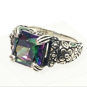 Vintage Sterling silver tourmaline stone ring 6.5